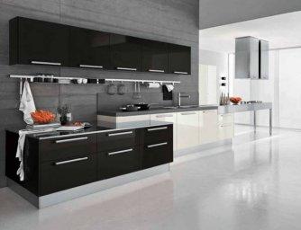 Черно-белая кухня 11